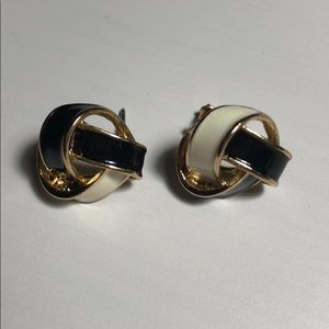 Jewelry - Woven Black and White Enamel Earrings